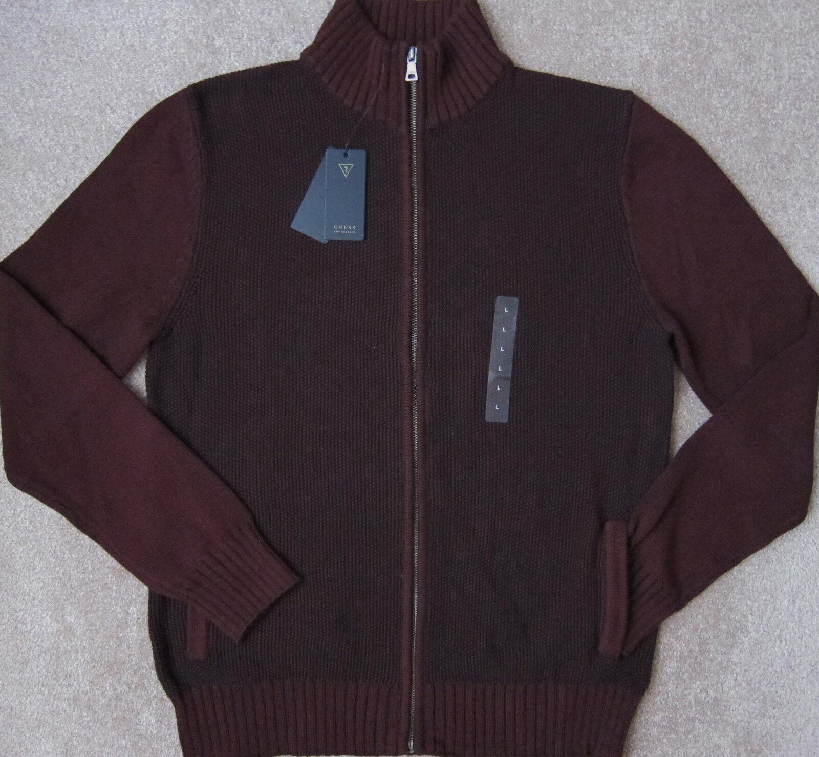GUESS ( Dark Cherry   Chambord Multi ) Plaited Zip Cardigan Sweater Men's NWT