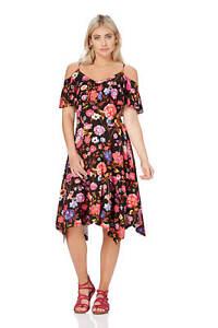 Roman-Originals-Womens-Black-Floral-Hanky-Hem-Cold-Shoulder-Dress-Sizes-10-20
