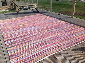 Plain-Bright-Multi-Couleur-Chiffon-Tapis-250-cm-x-250-cm-grand-carre-Chindi-Festival