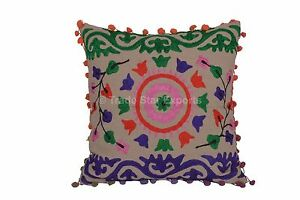 Indian-Cotton-16-034-Vintage-Suzani-Embroidery-Pillow-Case-Home-Decor-Cushion-Cover