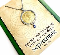 Irish Lucky Penny Birthstone Pendant Necklace - September, Sapphire Crystal