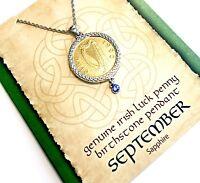 Irish Lucky Penny Birthstone Pendant Necklace - September, Sapphire Crystal