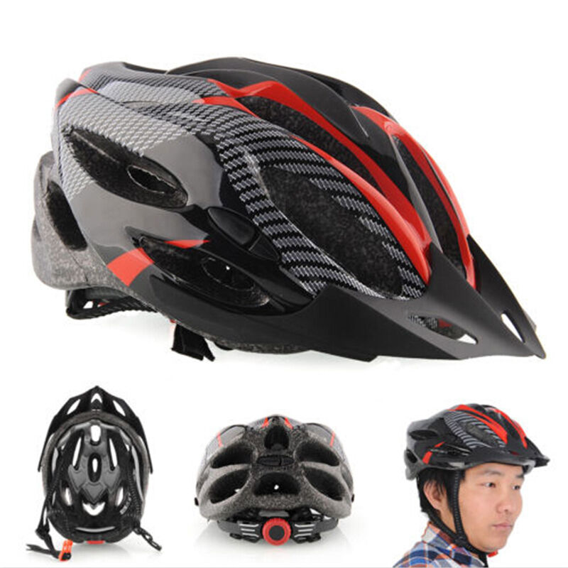 Cycling Bicycle Adult Mens  Bike Helmet Red carbon color With Visor Mountain BN  shop online