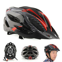 Cycling Bicycle Adult Mens Bike Helmet Red Carbon Color With Visor Mountain Hu