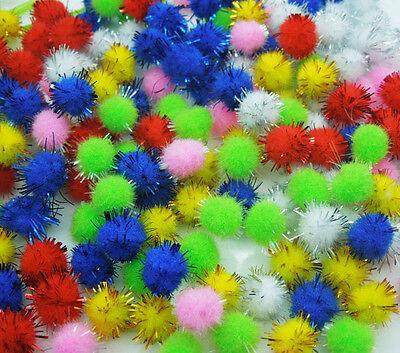 500pcs Random mix 12mm Glitter Pompoms Garment fur handmade Craft DIY