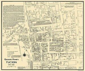 Old City Map - Tucson Arizona Landowner - 1870 - 27.75 x 23 | eBay