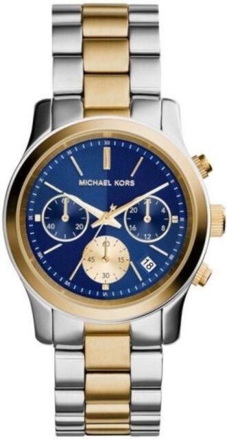 100 Michael Kors Runway 2 Tone PVD Blue Dial Women's Watch 38mm Case MK6165
