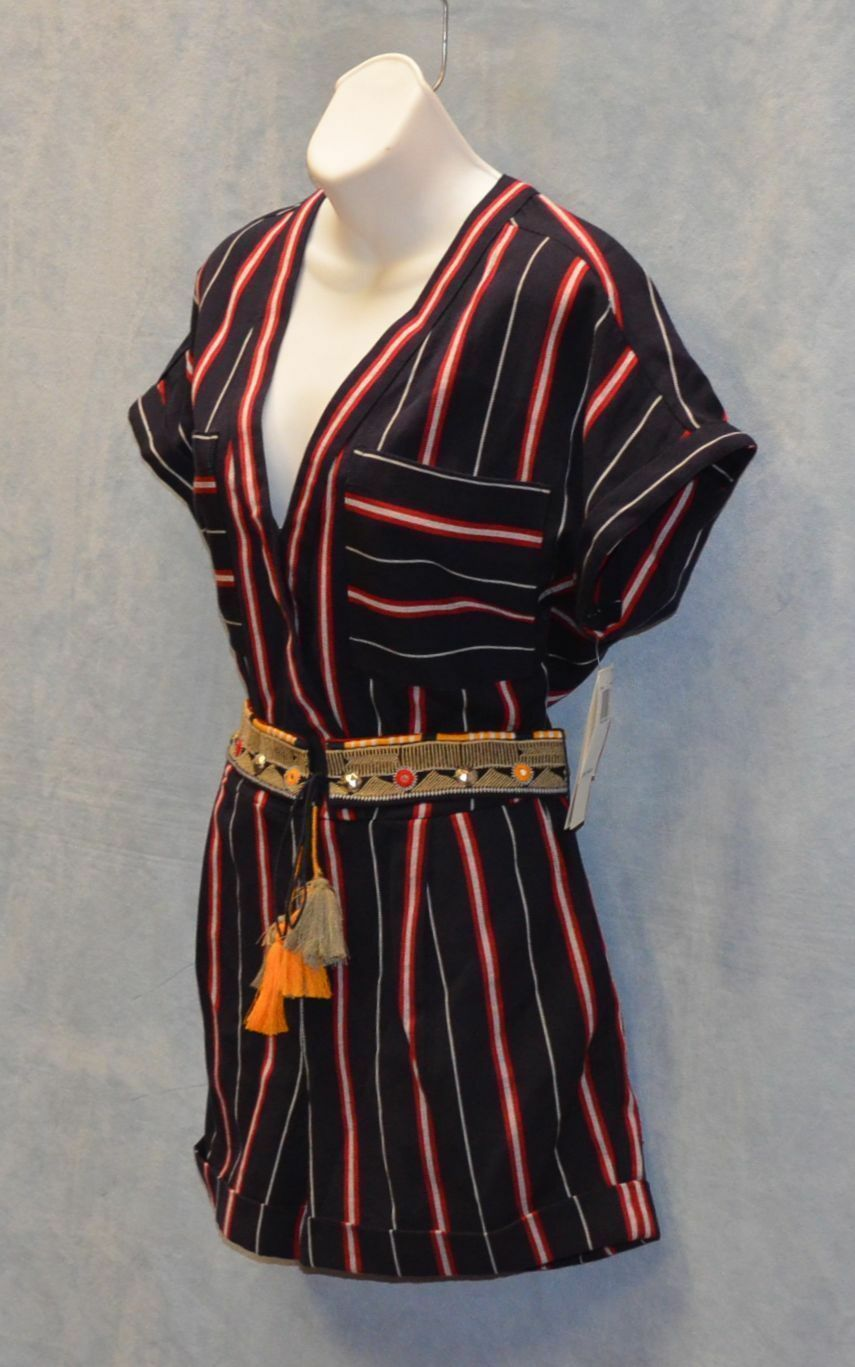 B2 NEW FRENCH CONNECTION Hasan Cotton Navy Striped Studded Belt Romper Sz 2  148
