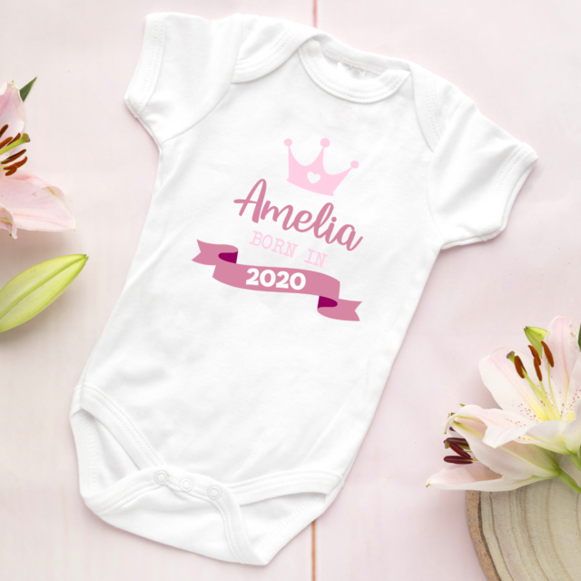 PERSONALISED NAME BORN VEST GIFT PRESENT FUNNY BABY GROW SHOWER NEWBORN IN 2020