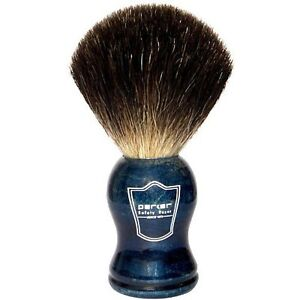 100-Black-Badger-Bristle-Shaving-Brush-with-Blue-Handle-amp-Free-Stand