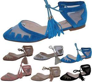 Womens-Flat-Ballerina-Dolly-Pumps-Ballet-Ladies-Summer-Mesh-Tassel-Shoes-Sandals