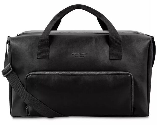 New Calvin Klein Men S Black Faux Leather Duffle Bag Gym Travel Cary On