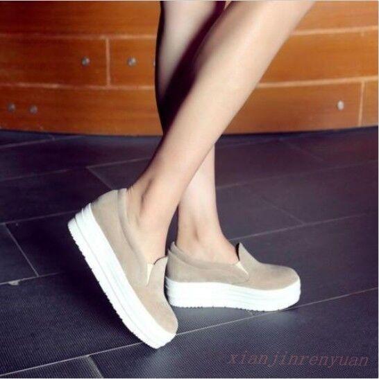 Vogue Hot Women Hidden Wedge Heel on Platform Suede Shoes Slip on Heel Sneakers Loafers dc406b