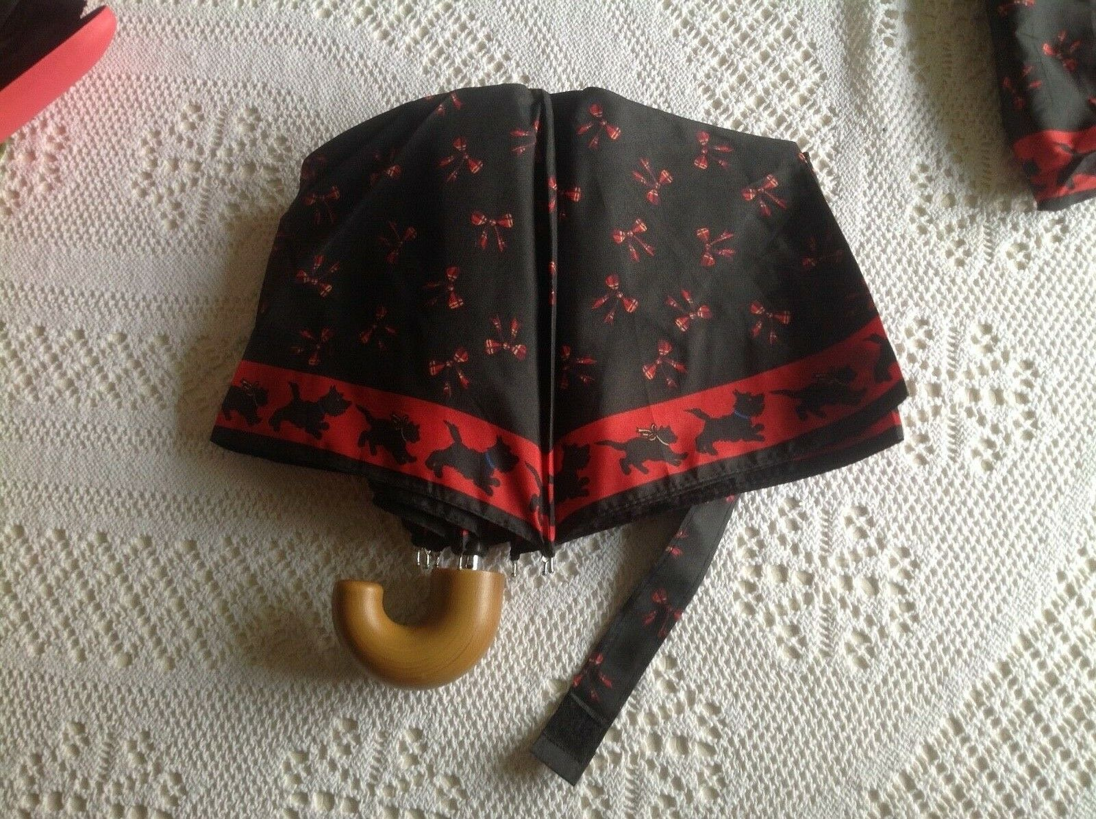 New folding umbrella +cover, limited edition, featuring Scottie dogs+tartan bows