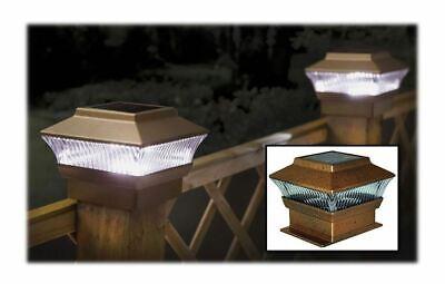 2 Bronzo Led Giardino Posta Energia Solare Deck Tappo Quadrato Recinto Patio Alta Qualità