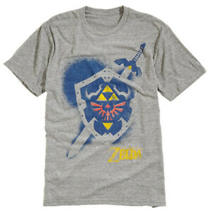 Nintendo-Zelda-Shield-Spray-Grey-Heather-Men-039-s-Graphic-T-Shirt-New