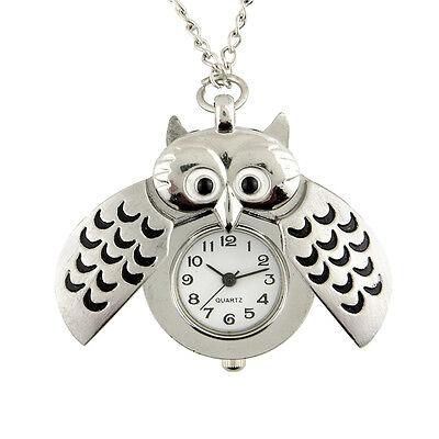Owl Shape Chic Pocket Watch Pendant Analog Quartz Necklace Women Watches