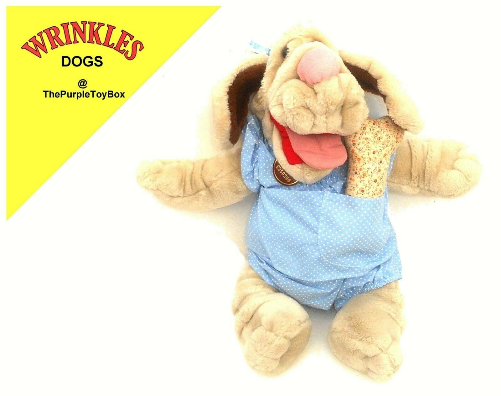 1981 Wrinkles Dogs  GIRL DOG with BONE  Plush Toy by Ganz