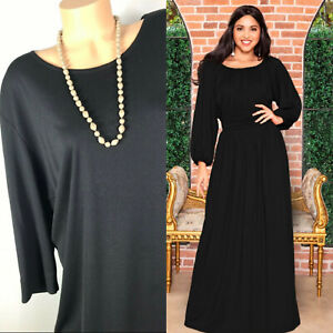 Coldwater Creek Maxi Dress 3X Black Long Sleeve Formal ...