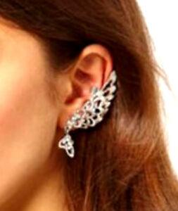 Details About Silver Tone Left Ear Angel Wing Clip On Cuff Earring W Rhinestones Us Er