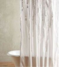 Anthropologie Draped Wisteria Shower Curtain White Cotton Ruffles MSRP 9800