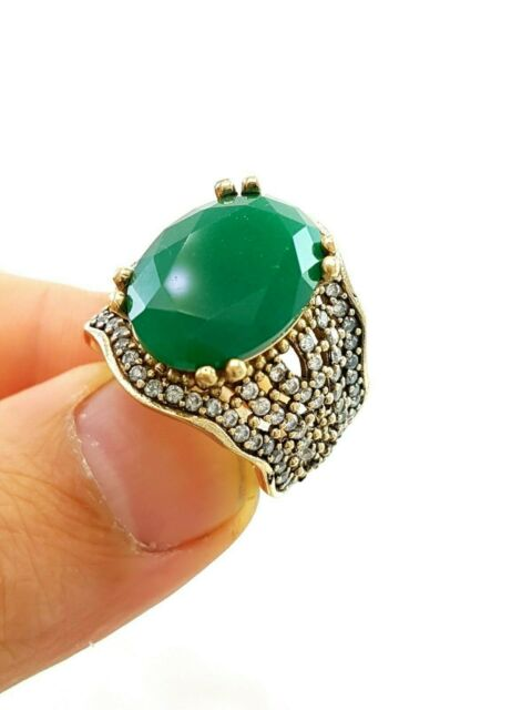 BEST STERLING 925 SILVER EMERALD RING TURKISH OTTOMAN JEWELRY SIZE 8 D1486
