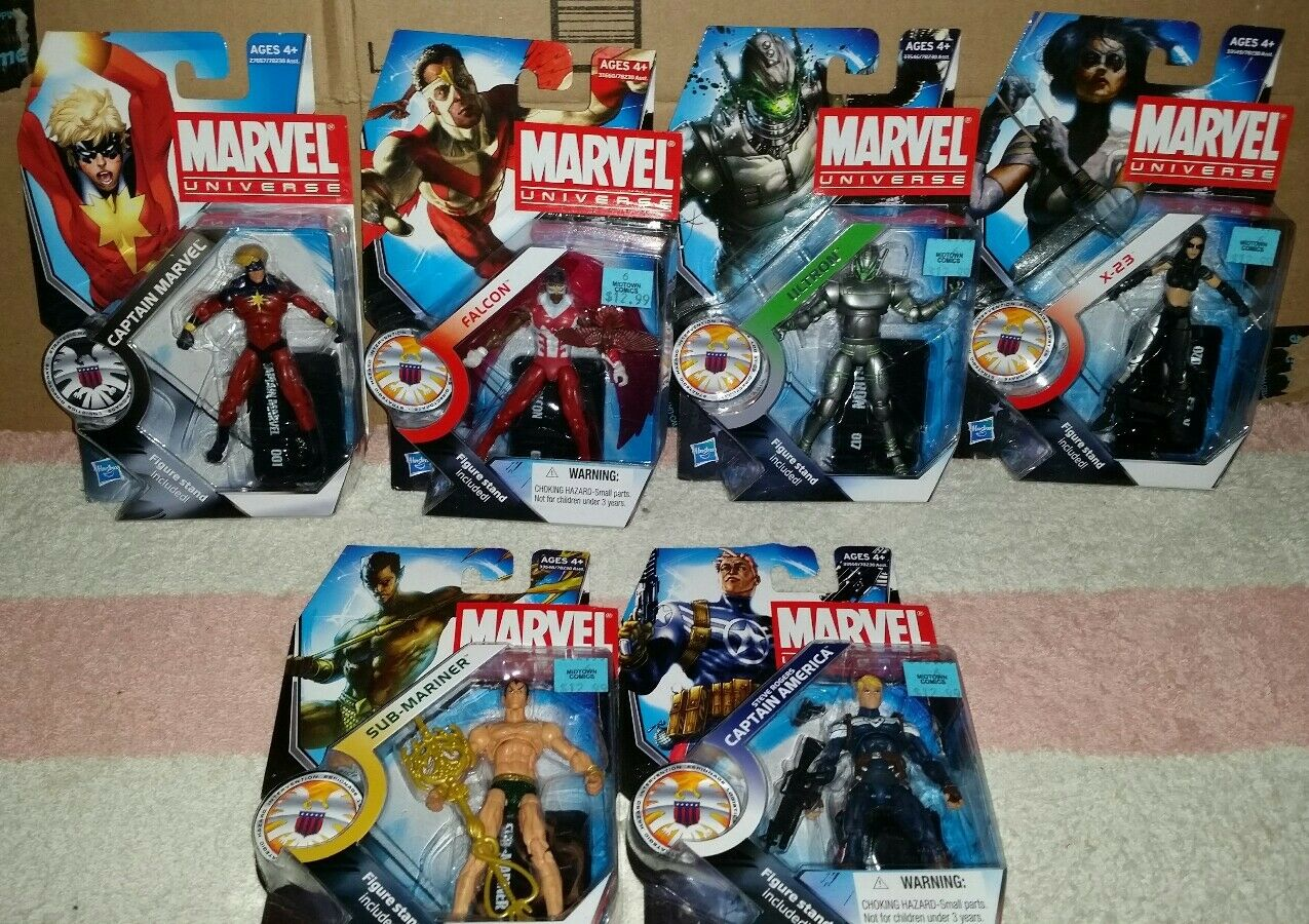 Marvel Universe Series 3 Lot of 6 Figures  X-23, Marvel,Ultron,Cap, Namor, Falcon  différentes tailles