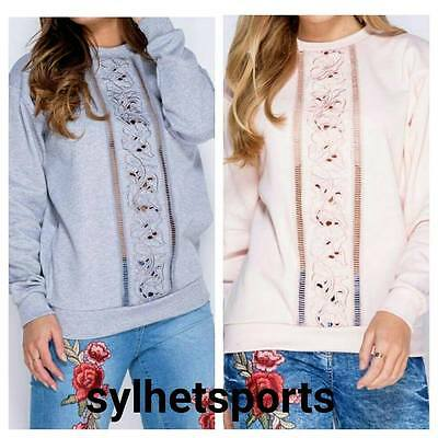 Genuine Parisian Ladies Diagonal Embroidered Cutout Detail Sweatshirt/ Top