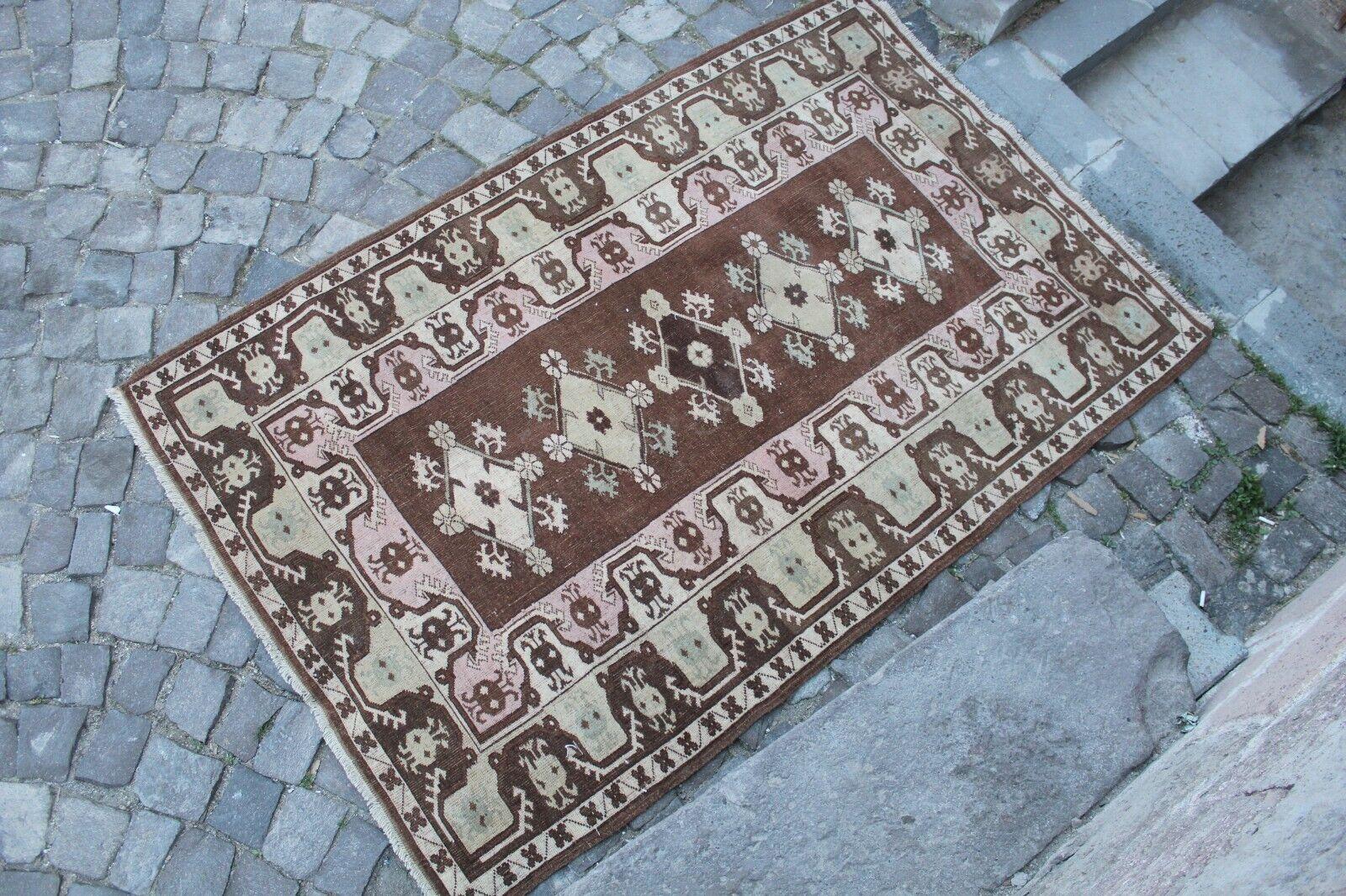 Vintage hecha a mano turca Anatolia Oficina Alfombra Alfombra 6'8 x4'4
