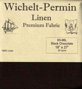Wichelt-Permin-PREMIUM-LINEN-FABRIC-32-Count-Cross-Stitch-18-x-27-BLK-CHOCOLATE