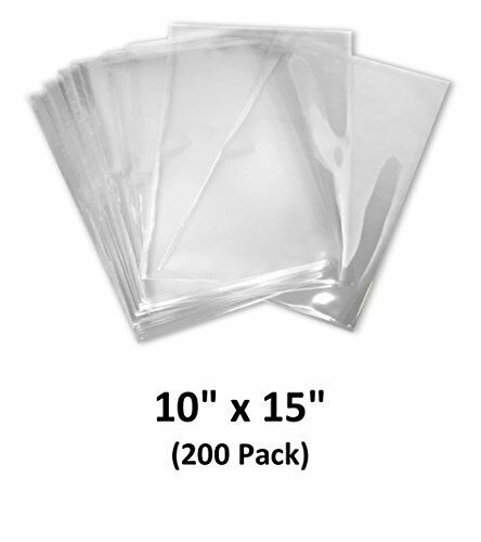10x15 inch Odorless PVC Heat Shrink Wrap Bags 200 Pack 100 Guage Clear