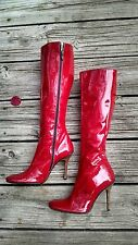 Authentic Dolce Gabbana Red Patent Leather Boots-Made in Italy-EU35 US5