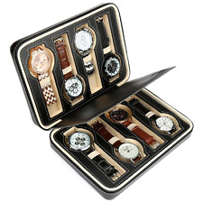 H&S 8 Watch Jewellery Display Storage Travel Box Case Organiser Black Faux Leath