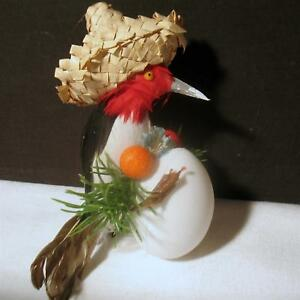 Vintage-Christmas-Handmade-Bird-Tree-Ornament-Woodpecker-w-Egg-Straw-Hat-Crafts