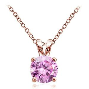 Rose-Gold-Tone-on-Silver-2ct-Pink-Cubic-Zirconia-8mm-Round-Solitaire-Necklace