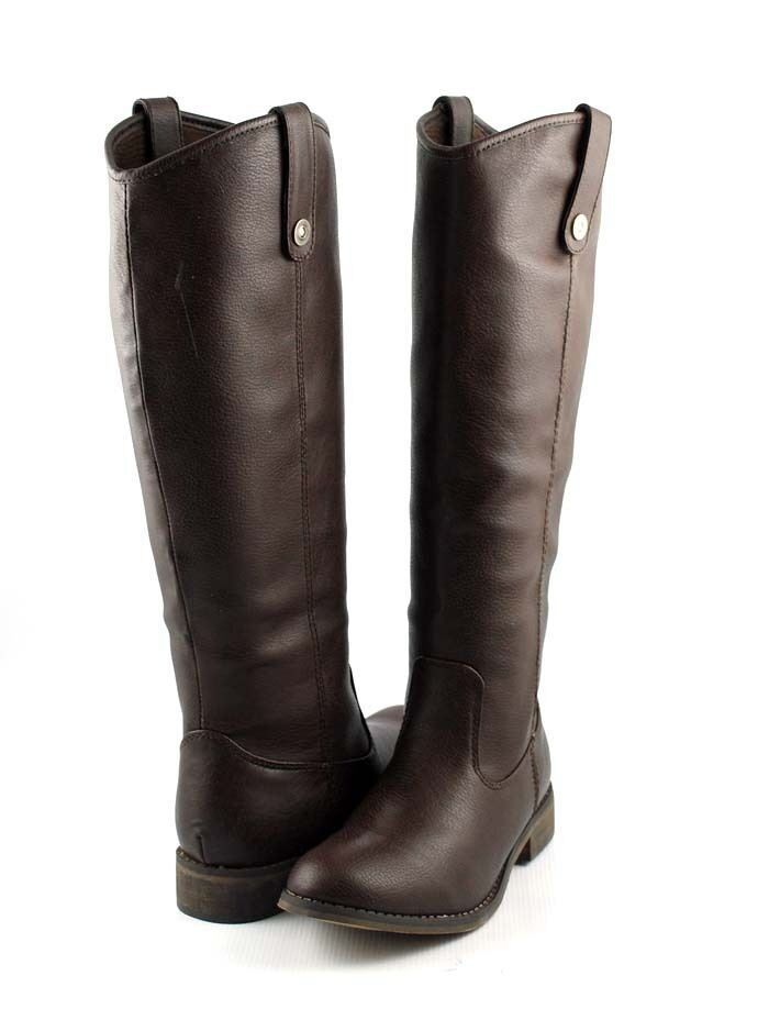 Brown Uptown Polish Look Tall Shaft Western Riding Style Flat Knee Boots