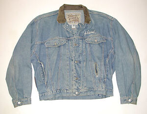 69b57a91 Vintage 1980 DIESEL Men's Motorcycle Denim Jacket, Leather Collar Sz ...