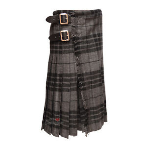 Scottish-Traditional-Youth-Gray-Watch-Tartan-Kilts-For-Boys-3-Buckles-Straps