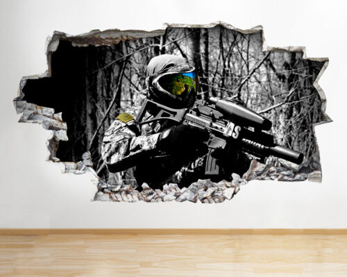 Autocollants Muraux painball game gun Garçons Cool Smashed Decal 3D Art Vinyle Pièce C264
