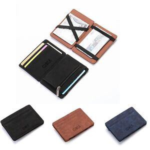 Men PU Leather Money Clip Thin Bifold Wallet Credit Card Holder G