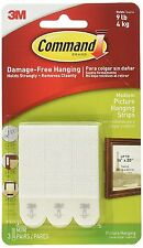 3M Command Medium Adhesive Strips Damage Free Wall Picture Poster Hanging 17201