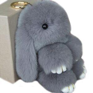 Adorable Real Fur Bunny Fluffy Rabbit Keyring Lady Bag Charm Pendant ... 0ac9e9919d6d8