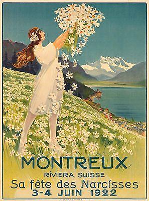 Leukerbad  Switzerland Suisse Mermaid Vintage Travel Advertisement Poster