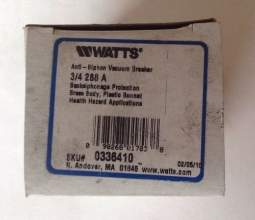 Watts Anti-Sifón 3//4 288A Interruptor de vacío
