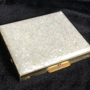 Vintage-Women-039-s-Compact-Powder-White-Sparkle-Top-Square