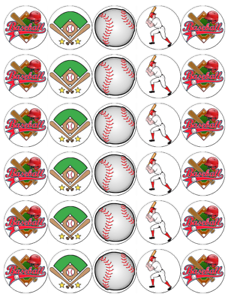 30x Baseball Cupcake Toppers Comestible Gaufre Papier Fée Gâteau Toppers