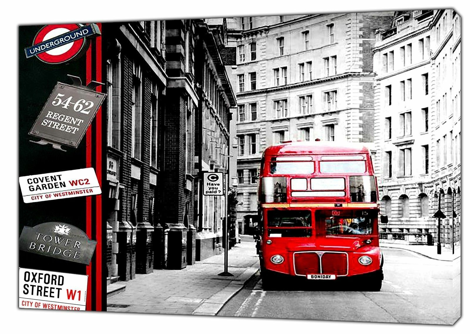 LONDON STREET rot BUS PICTURE PRINT ON WOOD FRAMED CANVAS WALL ART DECORATION