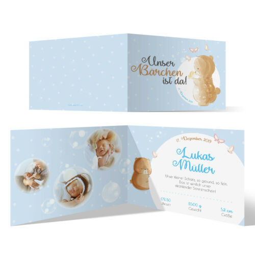 Details about / Birth cards Baby cards individually with text and photo A6 Bear in blue