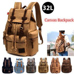 32l Retro Canvas Leather Backpack Rucksack School College Work Men