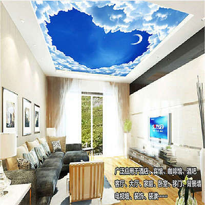 Cloud And Moon Sky Full Wall Ceiling Mural Photo Wallpaper Print Home 3d Decal Ebay